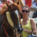 Ženy a dívky okolo koní posedmé